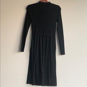 Karen Millen Black Sweater Dress Pleated Skirt